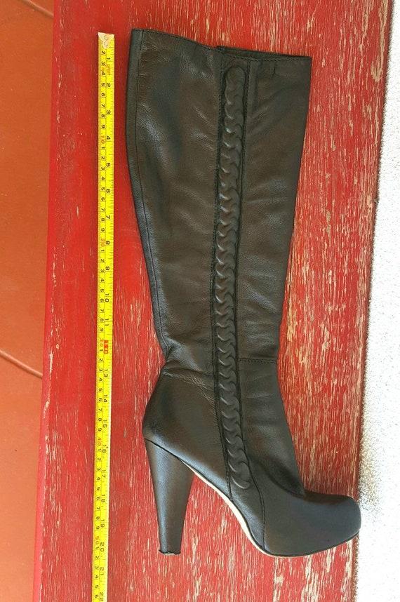 Vintage Boots Women Size 9,  Black Leather Boots,… - image 4
