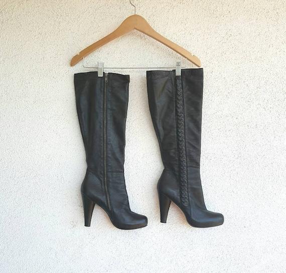 Vintage Boots Women Size 9,  Black Leather Boots,… - image 3