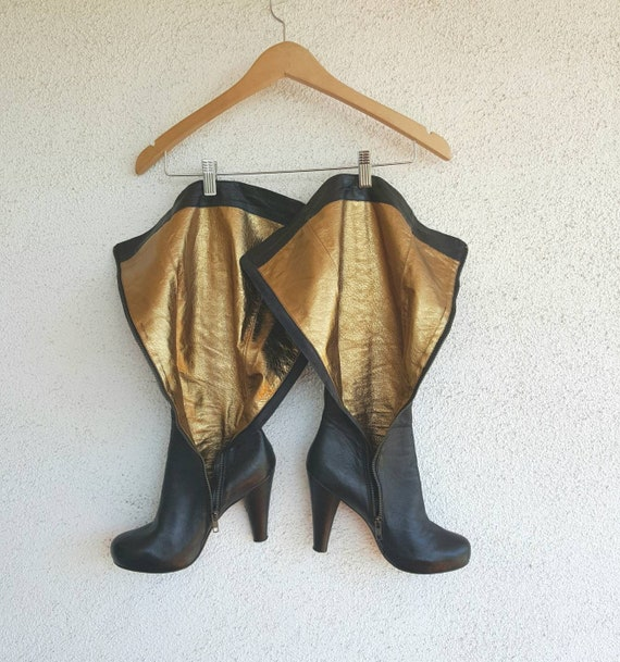 Vintage Boots Women Size 9,  Black Leather Boots,… - image 5