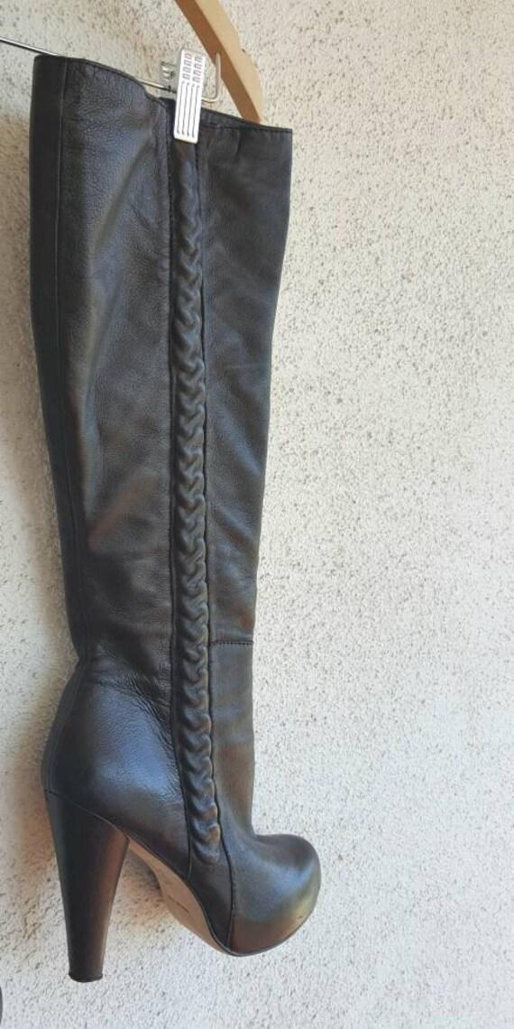 Vintage Boots Women Size 9,  Black Leather Boots,… - image 6