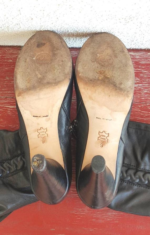 Vintage Boots Women Size 9,  Black Leather Boots,… - image 7