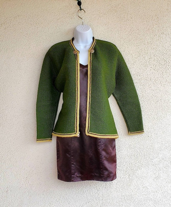 Vintage 1950s 1960s German Wool Cardigan Sweater,