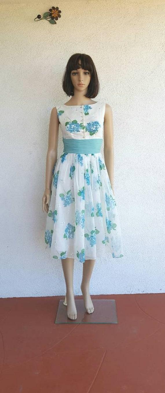 Chiffon 1950s Dress, Vintage Womens Clothing, Vint