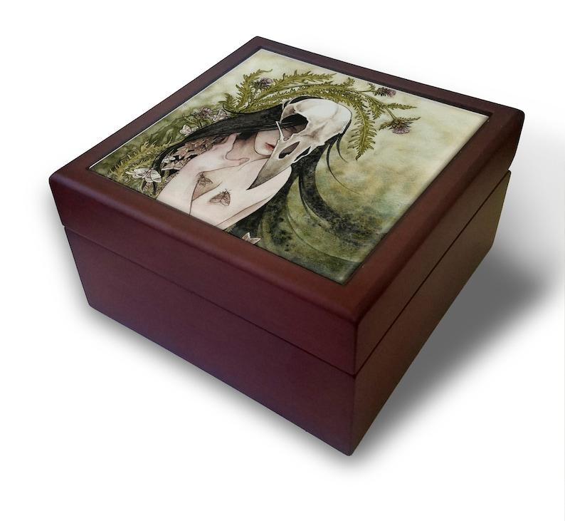 Raven Skull and Thistle Clutch Tile Keepsake Box