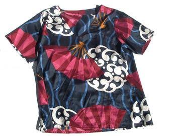 Blouse orientale   nouveau inspiré léger v-Neck femmes à manches courtes bleu marine chemise marron top fans femmes des années 80 vintage moyenne M L large