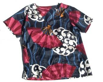 Eastern Blouse | nouveau inspired lightweight v-neck womens short sleeve navy blue maroon shirt top fans womens 80s vintage medium M large L