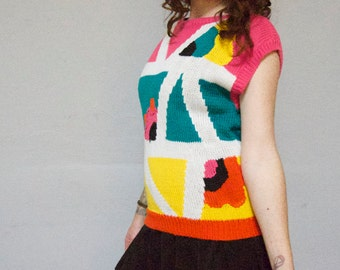 90s abstract chunky knit pullover pop art geo color block club kid 1990s super kawaii new wave dolman short sleeve sweater large L women top