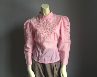 80s puffy shoulder sleeve KAWAII pink cut out LACE avant garde new wave high fashion 1980s VINTAGE shirt top blouse small S medium M indie
