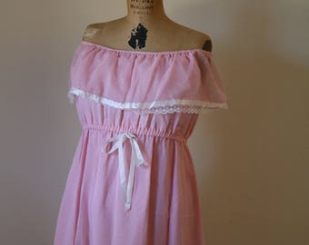 Pastel Maxi Dress | off shoulder 70s 80s cotton elastic waist long womens vintage baby pink sleeveless ruffle bow tie kawaii DRESS small med