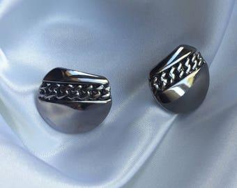 chaîne en argent cercle symétrique inspiration aztèque disque grand années 80 vintage style sud-ouest bijoux Boucles d'oreilles