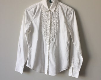e049f8a6 Ralph Lauren Button Up | 90s vintage long sleeve pointed collar ruffle  chest detail extra small - small XS / S shirt white crisp office work