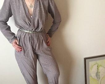 Tailleur-pantalon en soie   sourdine gris à manches longues une pièce Body Combishort womens vintage à pois nouvelle vague des années 80 Body col en v poches moyen M L