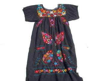 Embroidered Blusa | vintage hand embroidery colorful flower pattern floral cotton sun dress womens small S medium M large L Os 70s folk