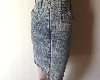 5 midi lavage acide denim jean jupe 100 % coton des années 1980 vintage rocker nouvelle vague punk ultra taille haute crayon bas 5 6 7 26 27 taille