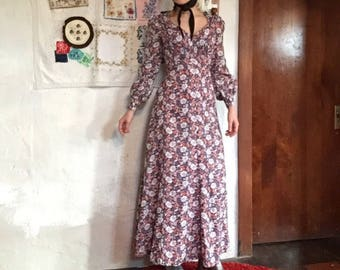 XS/S poet sleeve V neck empire waist bishop sleeve 70s vintage prairie floral psychedelic print long maxi dress small