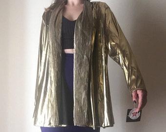 Lamet or couvrir tous   90 s vintage des années 80 NOTATIONS polyester manches longues brillant métallique danse disco cadavres d'animaux unisexe femmes chemise châle OSFM