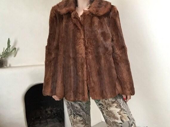 Classic Fur Coat   peter pan collar button up 50s vintage mid century womens antique mink large L 10 12 retro