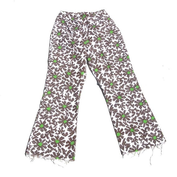 Psychedelic Mod Bottoms | high waist 60s 70s vintage retro brown and lime green floral print flower raw hem pocketless pants 4 5 6 7