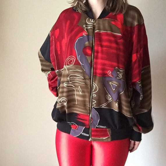 90s batik inspired lightweight unisex bomber jacket baseball urban high fashion vintage red black trim silver zipper hip hop small s medium