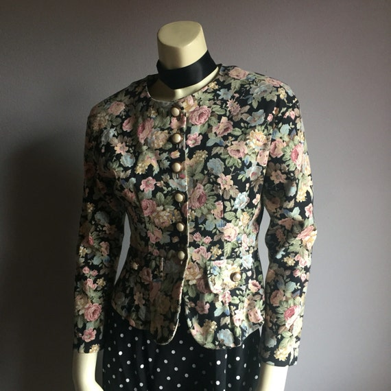 early 90s peplum hem button up O neck long sleeve blazer office coat 1990s botanical floral print pearl button pastel goth small XS 4 5 6