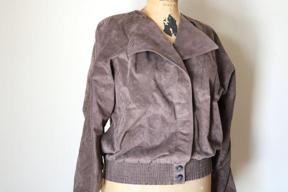 Taupe Windbreaker   vintage 80s motorcycle cut MICROSUEDE vegan womens light brown jacket collapsible 1980s O neck avant garde