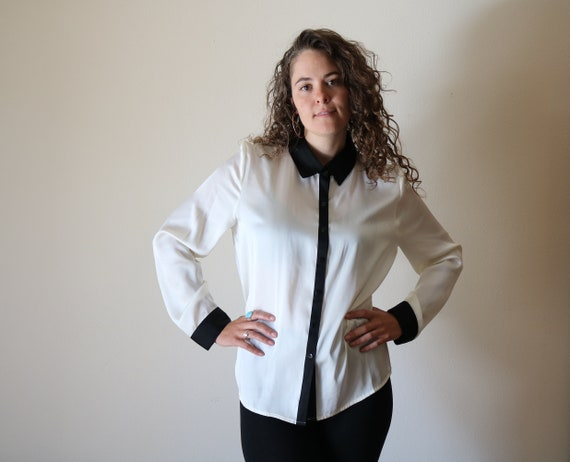 Two Tone Shirt | ivory cream long sleeve button up black trim collar top womens blouse office work vintage minimal 90s s/m