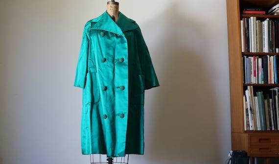 Emerald Satin Peacoat   XL dark green jewel hue self covered crochet buttons pea coat extra large 60s mid century mod jacket retro vintage L