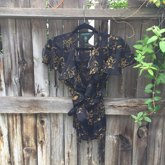 Sheer Baroque Wrap Tie | S/M Ralph Lauren vintage v neck ruffle flutter bell sleeve wrap tie gold baroque print pattern womens shirt blouse