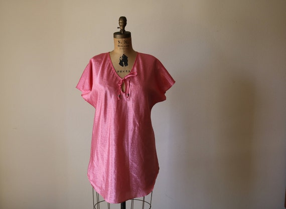 Dolman Nightie | M/L 80s vintage preppy slip night dress TUNIC medium large 1980s new wave Pink Coral bow tie super kawaii pastel goth