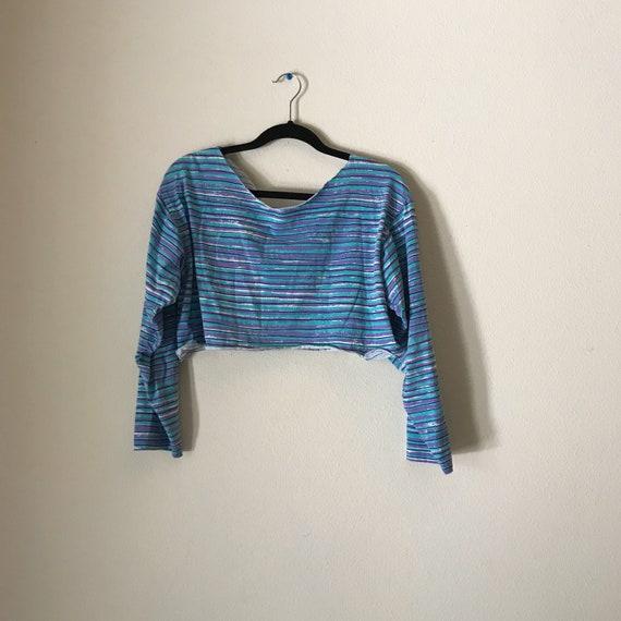 Raw Hem Crop Top | striped 80s vintage horizontal scoop neck long sleeve cotton tshirt top women unisex small medium large hipster new wave