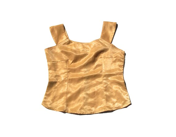 80s buttercup yellow princess seam vintage 1980s womens sleeveless tank top formal classy fitted large L minimalist zipper blouse soft light
