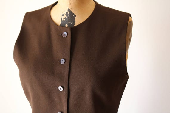 O-Neck Chocolate Tank | S/M 90s vintage preppy sleeveless structured Minimal preppy brown button up mod inspired top small medium