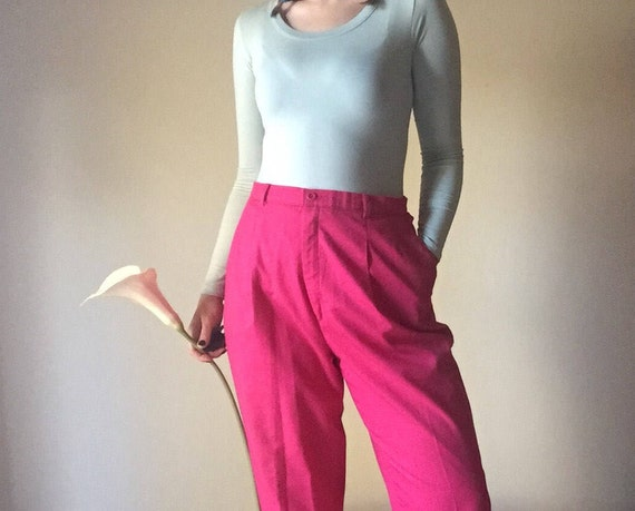 Hot Pink Trousers | L/XL high waist preppy unique bright loud 90s vintage slacks professional work school womens extra large kitsch indie