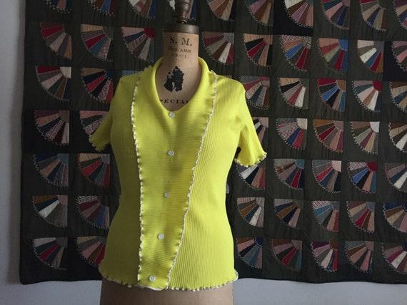 Ribbed Yellow Top | 70s vintage small medium S M short sleeve 1970s retro disco v neck ruffle shirt blouse