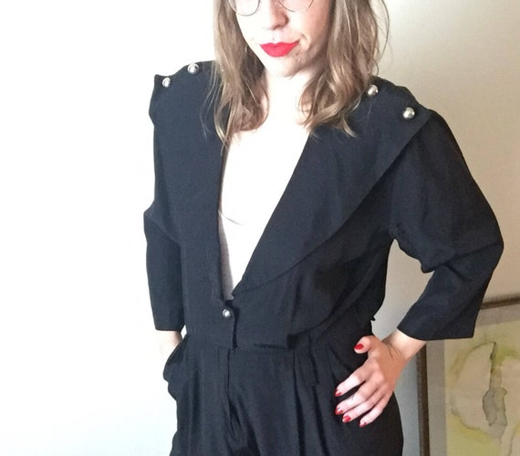 Black Pantsuit | one piece 80s vintage avant garde new wave long sleeve pant romper with pockets size medium M large L hipster club kid osfm