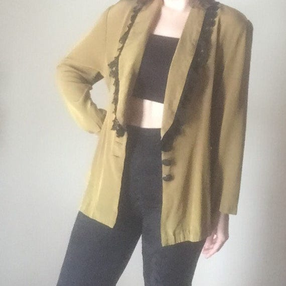 90s unique long blazer with plunging neckline black buttons lace trim detail goth hipster kitsch