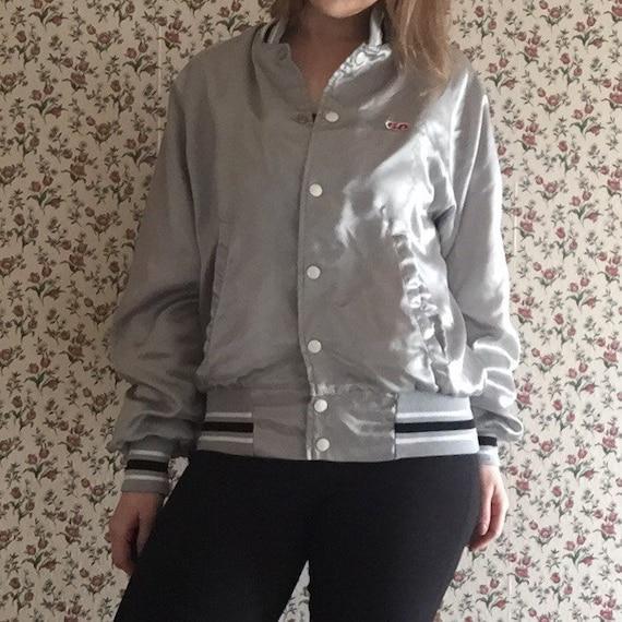 silver 80s satin bomber jacket windbreaker 80s vintage black and white stripes unisex mens womens smallS medium M baseball athletic jacket