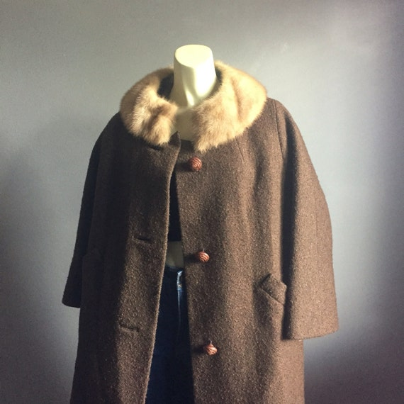 60s mod fur collar vintage 1960s taupe brown peter pan 1960s mid century mad men winter jacket long pea dress retro hollywood large L