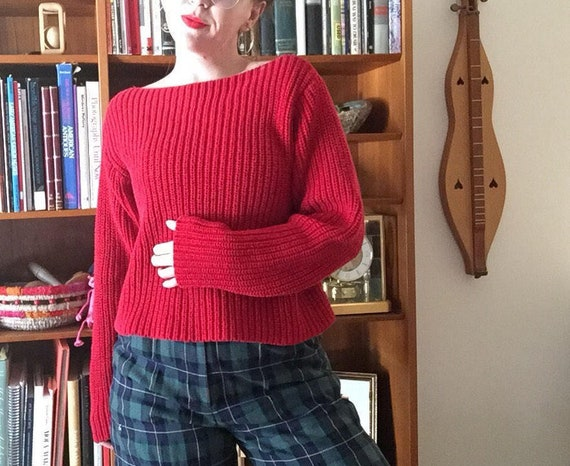 DKNY Chunky Knit | 90s COTTON vintage crimson red boat neck long sleeve knit sweater medium M jumper pull over preppy