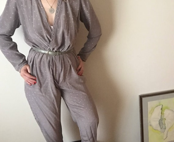 Silk Pantsuit | muted gray long sleeve one piece onesie playsuit womens vintage polka dot new wave 80s bodysuit v neck pockets medium M L