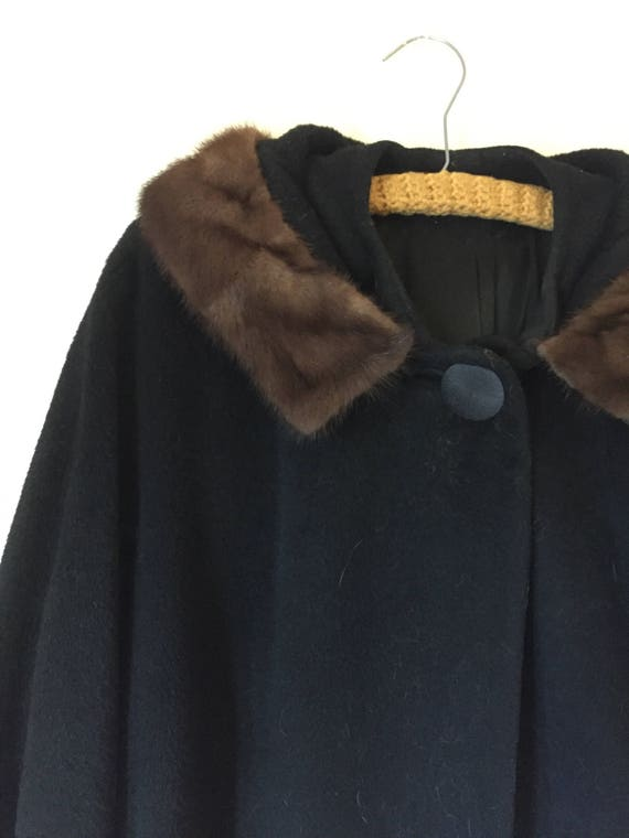 Mink Collar Coat   60s vintage mod mid century retro womens 1960s black long a line extra large XL L winter warm big button