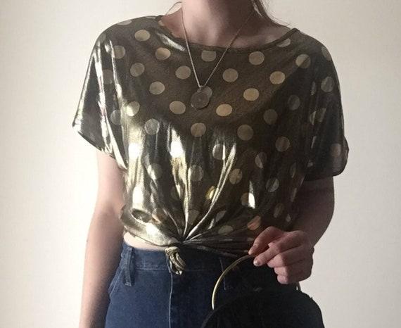 Gold Polka Dot Dolman Top | M/L womens scoop neck classic basic short sleeve top shirt medium large 80s vintage 90s urban dance lamet