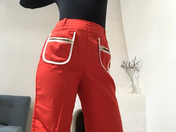 Red Bell Bottoms | 70s vintage cherry red flared ultra high waist cream detail gold metal zipper hippie psychedelic disco pants women 30 L 9