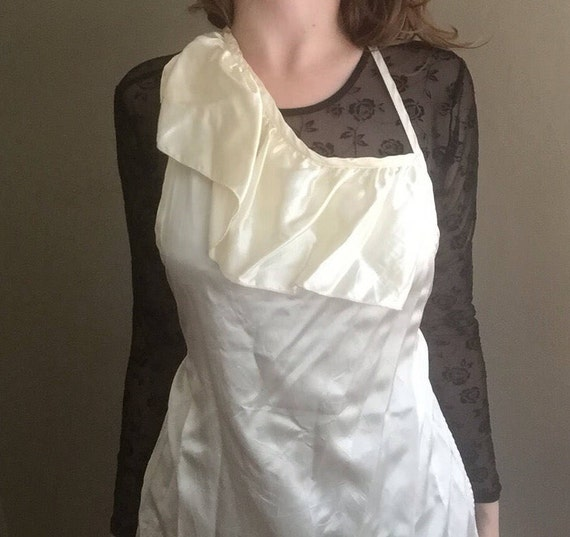 Satin Apron | asymmetrical ruffle trim detail ivory cream halter neck tie dress lounge wear lingerie womens 90s vintage high fashion one os