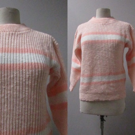 vintage pullover peach and white stripe acrylic chunky knit 80s 1980s ski sweater indie new wave kitsch hipster club kid pastel - medium M