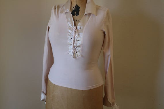 Lace-Up Collar Top | XS/S long sleeve stretch satin 90s vintage high fashion cream off white champagne shirt blouse cotton extra small