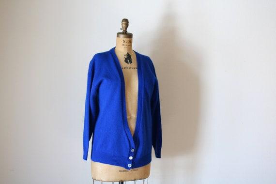 Blue Cardigan | vintage unisex medium M deep v long sleeve knit royal blue sweater preppy hipster kitsch winter spring long