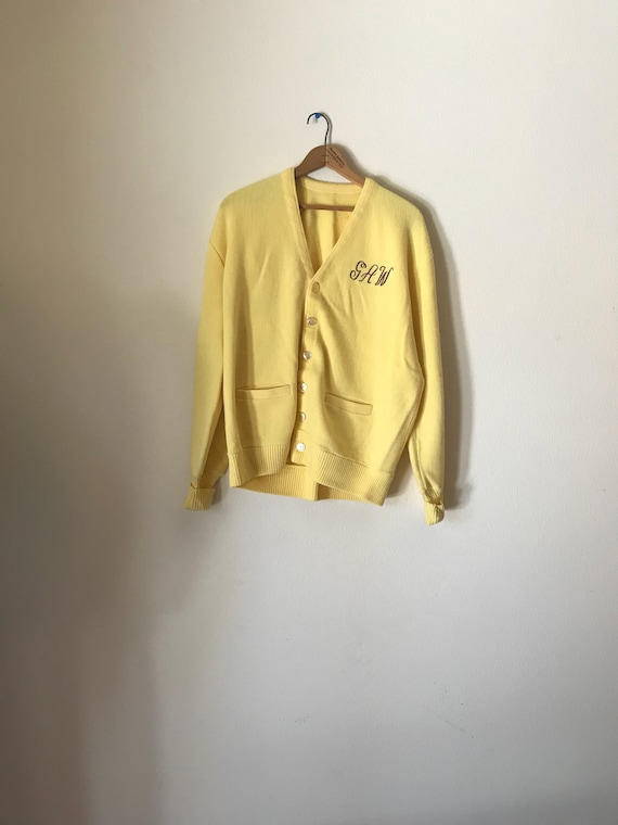 Yellow Cardigan | mid century pastel yellow knit button up UNISEX 50s vintage 1950s preppy embroider script initials G A W mens retro