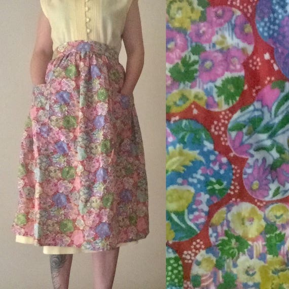 Retro Maxi Apron | one size colorful 50s 60s mid century vintage floral flower child open back womens house kitchen skirt kitsch large M OS
