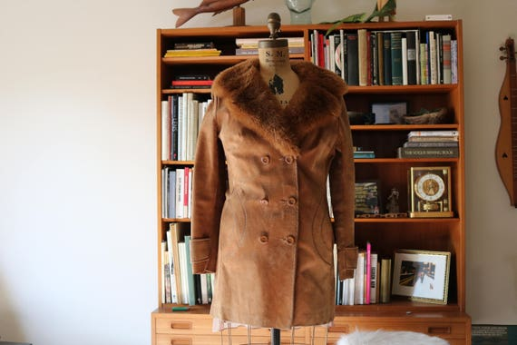 Penny Lane Coat   suede leather 70s vintage retro faux fur collar peacoat button up winter fall jacket 1970s hippie disco small medium fun